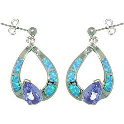 Carolina Glamour Collection Sterling Silver Created Opal Hoop and Purple CZ Dangle Earrings