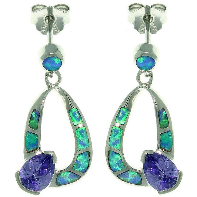 Carolina Glamour Collection Sterling Silver Created Opal and Cubic Zirconia Teardrop Earrings