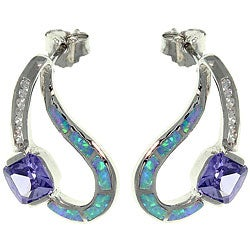 Carolina Glamour Collection Sterling Silver Created Opal and Cubic Zirconia Sculpted Earrings