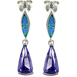 Carolina Glamour Collection Sterling Silver Created Opal and Cubic Zirconia Ultra Modern Earrings