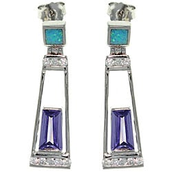 Carolina Glamour Collection Sterling Silver Created Opal and Purple CZ Dangle Earrings