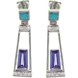 Sterling Silver Created Opal and Purple CZ Dangle Earrings