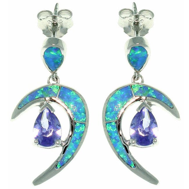 Carolina Glamour Collection Sterling Silver Created Opal and Cubic Zirconia Crescent Earrings