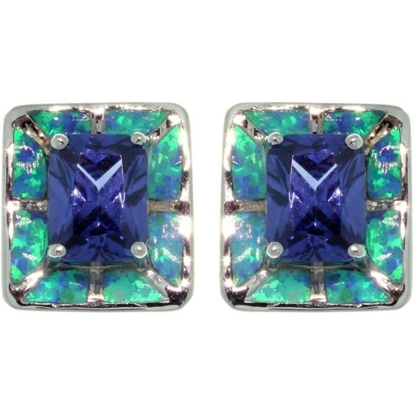 Sterling Silver Created Opal and Cubic Zirconia Square Earrings