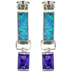 Carolina Glamour Collection Sterling Silver Created Opal and Cubic Zirconia Regal Obelisk Earrings