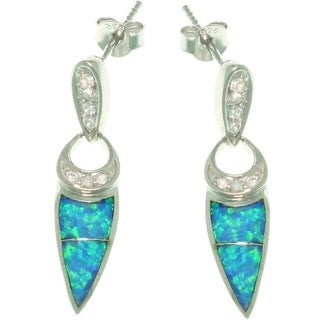 Sterling Silver Created Opal and CZ Geometric Dangle Earrings