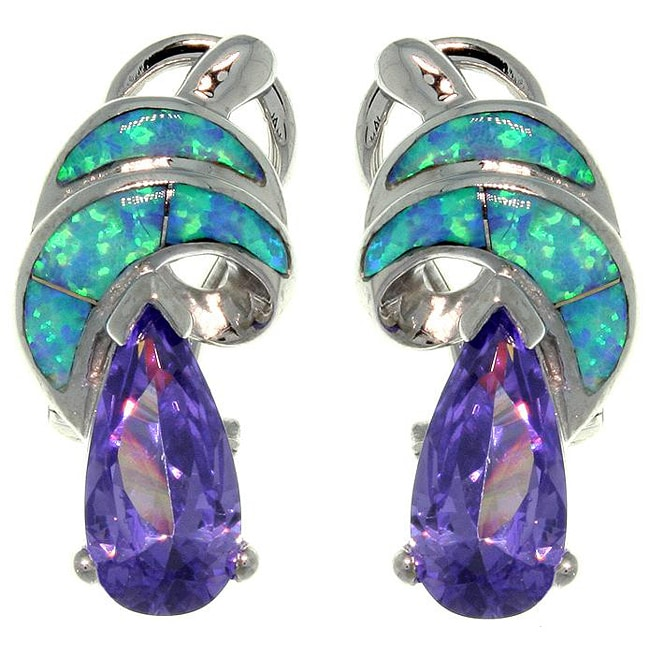 Carolina Glamour Collection Sterling Silver Created Opal and Cubic Zirconia Shimmering Swirl Earrings
