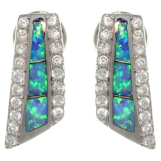 Carolina Glamour Collection Sterling Silver Created Opal and Cubic Zirconia Pave Earrings