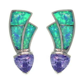 Sterling Silver Created Opal and Cubic Zirconia Contemporary Earrings
