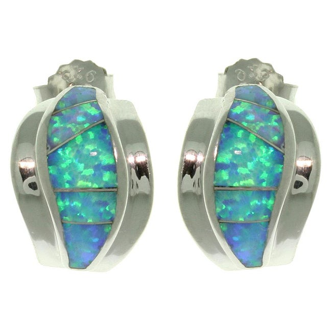Carolina Glamour Collection Sterling Silver Created Opal Earrings