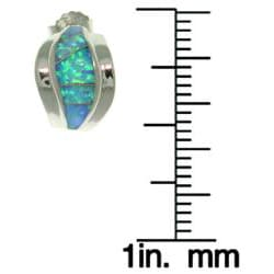 Carolina Glamour Collection Sterling Silver Created Opal Earrings - Thumbnail 2