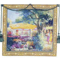 Flower Market European Tapestry Wall Hanging