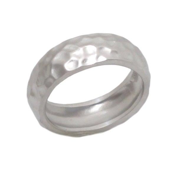 NEXTE Jewelry Silvertone Hammered Rounded Edge Wedding-style Band
