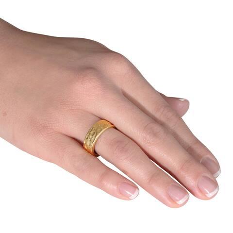 NEXTE Jewelry 14k Gold Overlay Hammered Contoured Edge Wedding Band