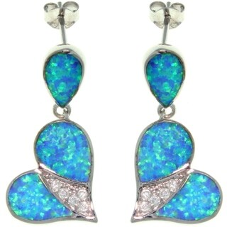 Sterling Silver Created Opal and Cubic Zirconia Cherished Heart Earrings
