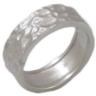NEXTE Jewelry Women's Silvertone Hammered Nugget Finish Band with Rhodium Overlay