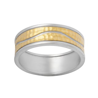 NEXTE Jewelry Two-tone Etched Design Wedding-style Band