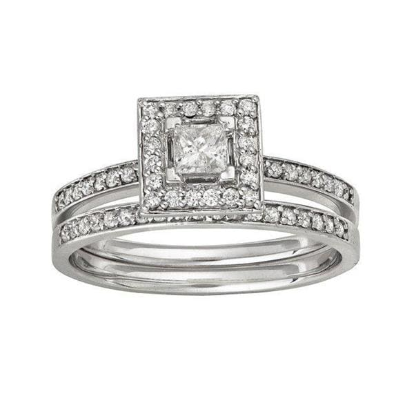 Montebello 14k White Gold 1/2ct TDW Diamond Bridal Halo Ring Set (H-I, I1)