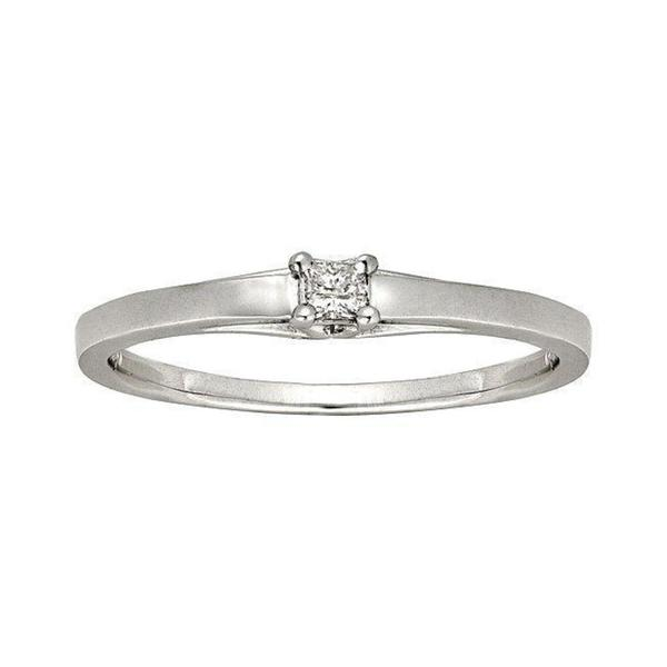 Montebello 10k White Gold Diamond Accent Solitaire Princess Cut Promise Ring