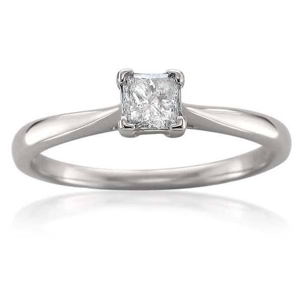 Montebello 14k White Gold 1/3ct TDW Princess Diamond Solitaire Ring