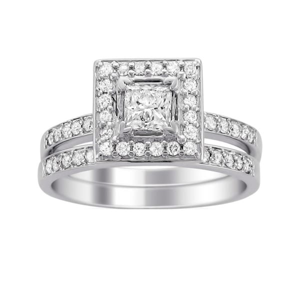 Montebello 14k White Gold 1ct TDW Princess Diamond Bridal Ring Set (H-I, I1)