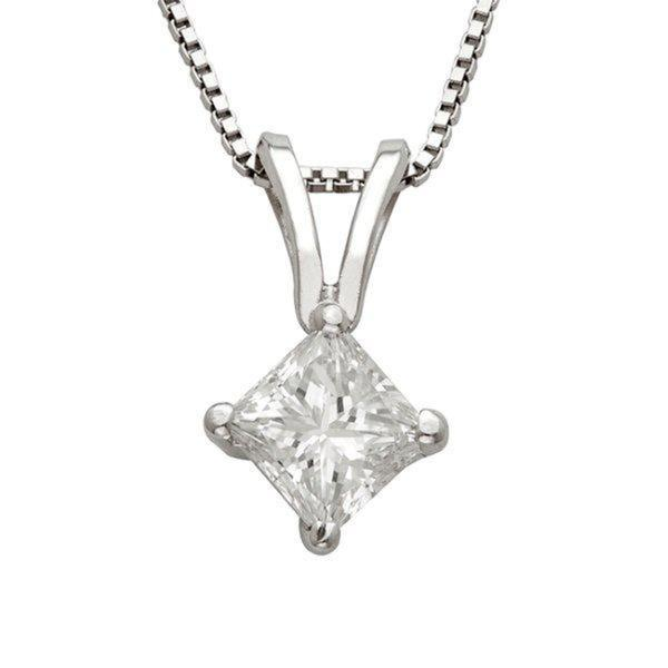 Montebello 14k Gold 1/4ct TDW Princess Diamond Solitaire Necklace (I-J, I1-I2)