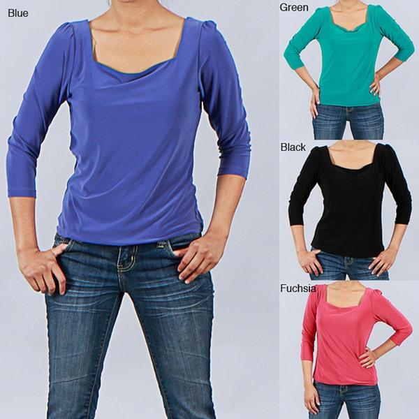 Clara S Women's 3/4-sleeve Square Neck Top