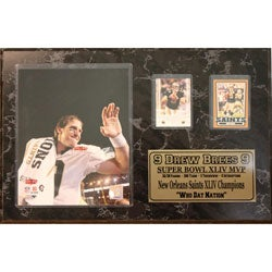 Drew Brees Two Card Plaque