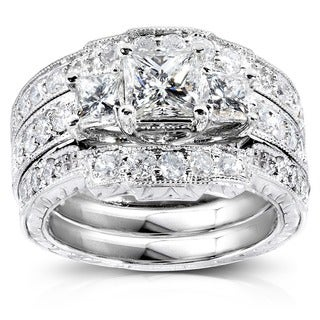 Annello by Kobelli 14k White Gold 1 7/8ct TDW Diamond 3-piece Bridal Rings Set (H-I, I1-I