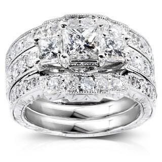 Annello by Kobelli 14k White Gold 1 7/8ct TDW Diamond 3-piece Bridal Rings Set (H-I, I1-I
