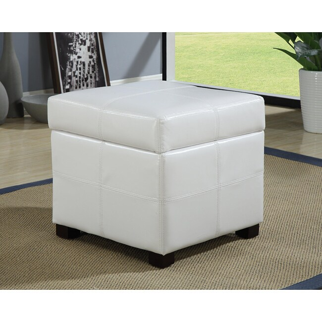 White Synthetic Leather Storage Cube with Wood Serving Tray