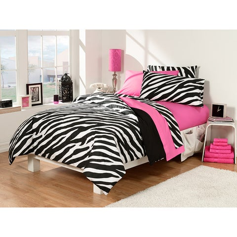 Dorm Room Superset Zebra/Pink 30-piece Twin Extra Long