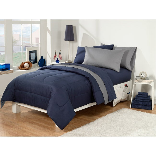 Dorm Room Superset Navy Grey 30 Piece Twin Extra Long Free Shipping Today Overstock 13605267