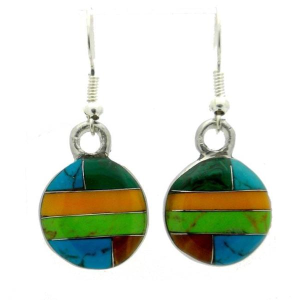 Handmade Alpaca Silver Turquoise, Malachite and Resin Round Earrings (Mexico)