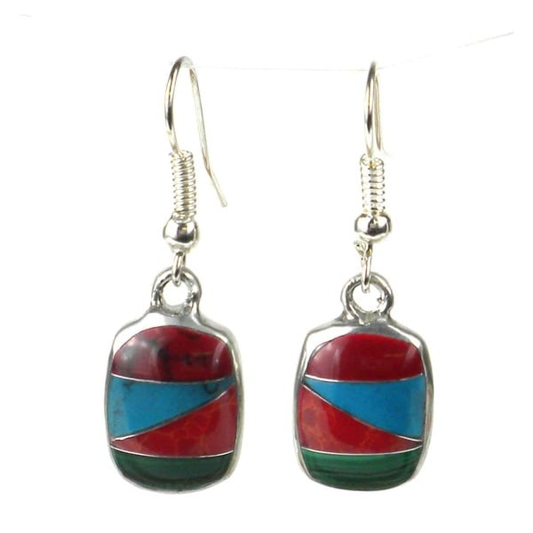 Handmade Alpaca Silver Diagonal Turquoise Trio Earrings (Mexico)