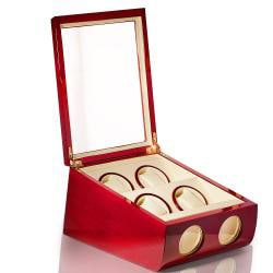 Steinhausen Executive Cherry Wood Quad Watch Winder - Thumbnail 1