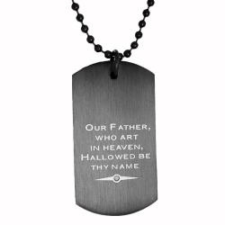 Oliveti Stainless Steel Diamond Accent Black Lord's Prayer Dog Tag