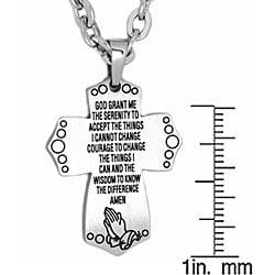 Oliveti Stainless Steel Morning Prayer Cross Pendant - Thumbnail 2
