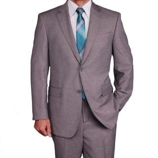 Men's Light Gray Wool/Silk Blend 2-button Suit