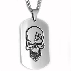 Oliveti Stainless Steel Black-plated Skull on Fire Dog Tag|https://ak1.ostkcdn.com/images/products/5899983/75/369/Oliveti-Stainless-Steel-Black-plated-Skull-on-Fire-Dog-Tag-P13605392.jpg?_ostk_perf_=percv&impolicy=medium