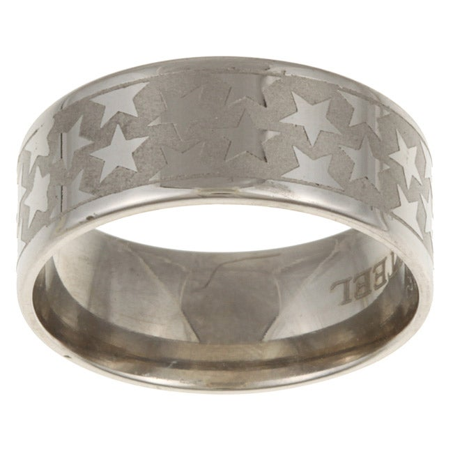 Stainless Steel Etched Star Band