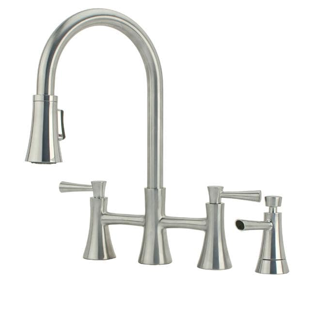 Fontaine Fiore Brushed Nickel Pullout Bridge Kitchen Faucet