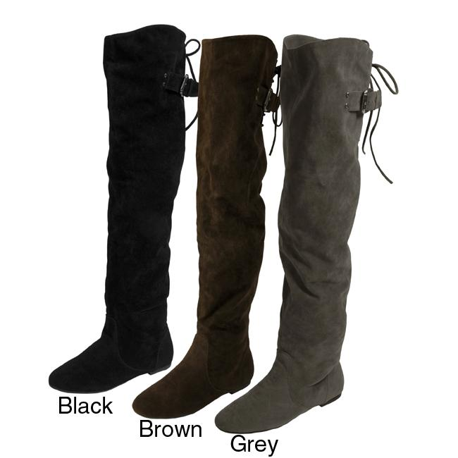 Bamboo by Journee Women's Velvety Thigh-high Boots