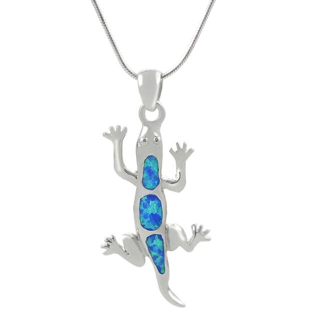 Journee Sterling Silver Blue Opal Lizard Necklace