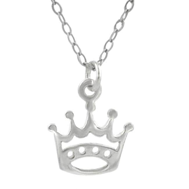 Journee Sterling Silver Crown Cut-out Necklace