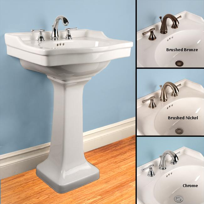 Fontaine White Porcelain Square Pedestal Sink With Monte Carlo Faucet Combo