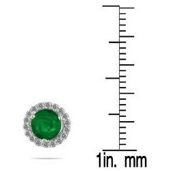 Marquee Jewels 14k White Gold Emerald and 1/5ct TDW Diamond Earrings (I-J, I1-I2) - Thumbnail 2