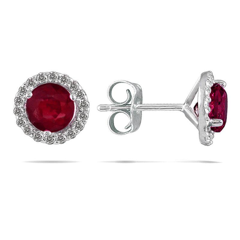 Marquee Jewels 14k White Gold Ruby and 1/5ct TDW Diamond Earrings (I-J, I1-I2)