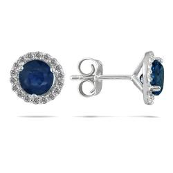 Marquee Jewels 14k White Gold and Sapphire 1/5ct TDW Diamond Earrings (I-J, I1-I2) - Thumbnail 0