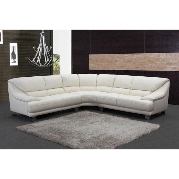 Bergamo White Sectional Leather Sofa: Verona White Leather Sectional Sofa